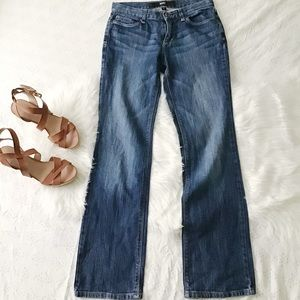 Medium Dark Wash Low-Rise Straight Leg Jeans